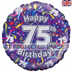 75th  Birthday Streamers Holographic 18 Inch Foil