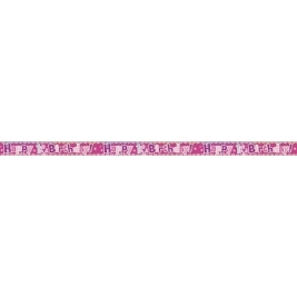 HAPPY 1ST BIRTHDAY PINK PRISMATIC BANNER  SHORT FOLD - 12 FT