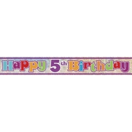 HAPPY 5TH BIRTHDAY PRISMATIC BANNER 12 FT