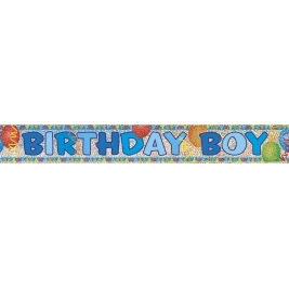 BIRTHDAY BOY PRISMATIC BANNER  SHORT FOLD  12 FT.