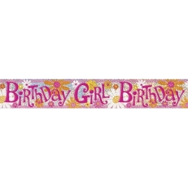 BIRTHDAY GIRL PRISMATIC BANNER  SHORT FOLD   12 FT.