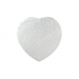 Silver Heart Shrink Wrapped Cake Drums 8 Inch - 5Pk