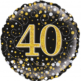 40th Sparkling Fizz Birthday Black & Gold Holographic 18
