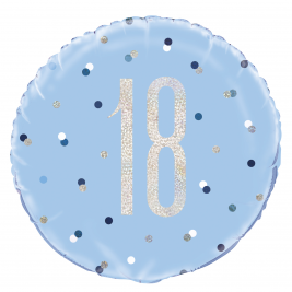 Birthday Blue Glitz Number 18 Round Foil Balloon 18