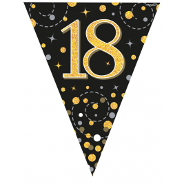 18th Birthday Black & Gold Sparkling Fizz Holographic Party Bunting 11 flags 3.9m