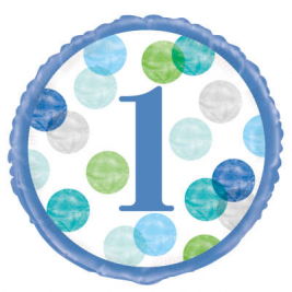 Number 1 Blue Dots Round Birthday Foil Balloon - 18 Inches