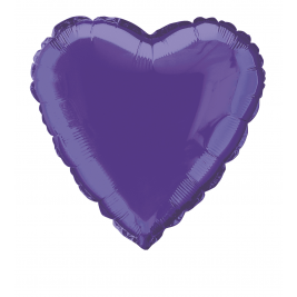 SOLID DEEP PURPLE  COLOUR HEART SHAPED FOIL BALLOONS