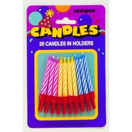 SPIRAL BIRTHDAY CANDLES IN HOLDERS ASSORTED COLOURS - pack of 20