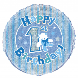 1st Birthday Blue Foil Balloon 18 Inches