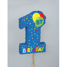 1ST BIRTHDAY BLUE PULL POP-OUT PINATA® 22