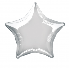 SOLID SILVER  COLOUR SHAPED FOIL BALLOONS