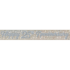 HAPPY 25TH ANNIVERSARY SILVER PRISMATIC BANNER 12 FT