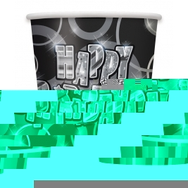 Happy Birthday 9 oz Black Glitz  Cups - Pack of 8