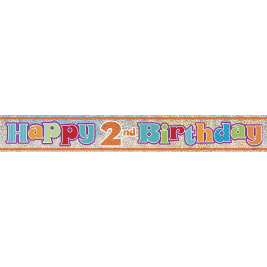 HAPPY 2ND BIRTHDAY PRISMATIC BANNER 12 FT.