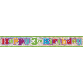 HAPPY 3RD BIRTHDAY PRISMATIC BANNER 12 FT