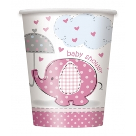 Umbrellaphants Pink Baby Shower 9oz CUPS - Pack of 8