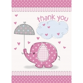 Umbrellaphants Pink Baby Shower THANK YOU NOTES - Pack of 8