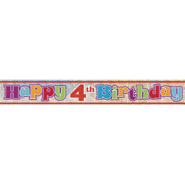 HAPPY 4TH BIRTHDAY PRISMATIC BANNER 12 FT