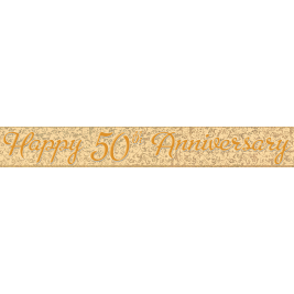 HAPPY 50TH ANNIVERSARY GOLD PRISMATIC BANNER 12 FT