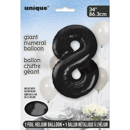 Black Foil Balloon Number 8 - 34