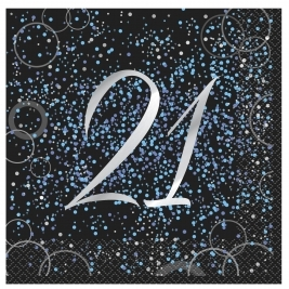 Blue Glitz 21st Birthday Luncheon Napkins (16pk)