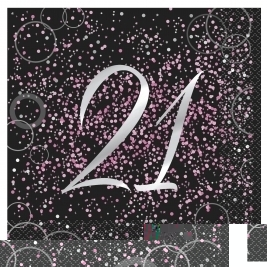 Pink Glitz 21st Birthday Luncheon Napkins (16pk)