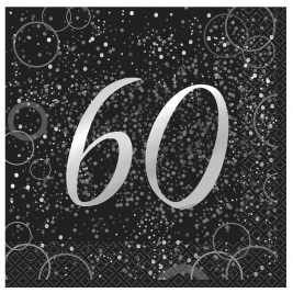 Silver Glitz 60th Birthday Luncheon Napkins (16pk)
