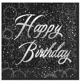 Silver Glitz Happy Birthday Luncheon Napkins (16pk)