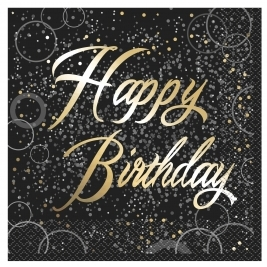 Gold Glitz Happy Birthday Luncheon Napkins (16pk)