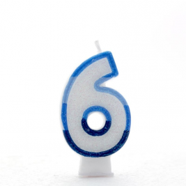 Pack of 6  Blue Coloured Number 6 Candle