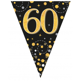 60th Birthday Black & Gold Sparkling Fizz Holographic Party Bunting 11 flags 3.9m
