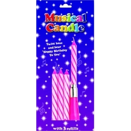 Pink Musical Candle (Sold in 6s)