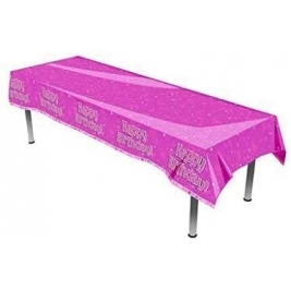 Happy Birthday Pink Hearts Plastic Tablecover