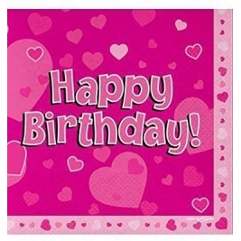 Happy Birthday Pink Hearts Luncheon Napkins 16pk