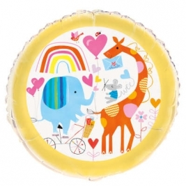 Baby Shower Zoo Round Foil Balloon 18 Inches