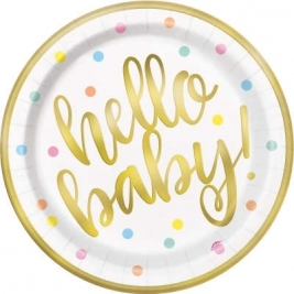 Baby Shower Round 9 Inches Gold Dinner Plates Pack of 8  - Foil Boar