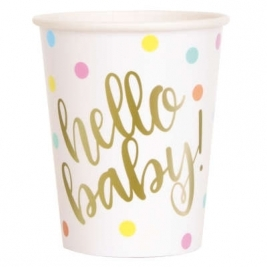 Baby Shower 9oz Gold Paper Cups Pack of 8