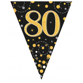 80th Birthday Black & Gold Sparkling Fizz Holographic  Party Bunting11 flags 3.9m