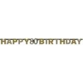 80th Happy Birthday Gold Celebration Prismatic Letter Banner - 2.13 M X 17 Cm