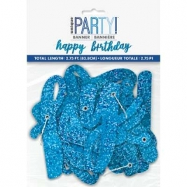 Happy Birthday Blue Glitz Script Prismatic Foil Jointed Banner 2pc