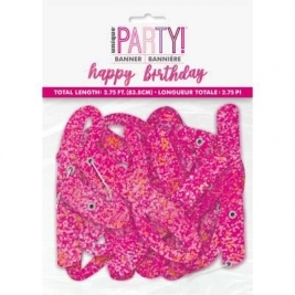 Happy Birthday Pink Glitz Script Prismatic Foil Jointed Banner 2pc