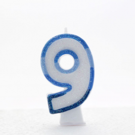 Pack of 6  Blue Coloured Number 9 Candle