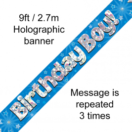 9ft Banner Birthday Boy Blue Holographic