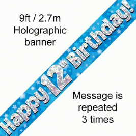 9ft Banner Happy 12th Birthday Blue Holographic