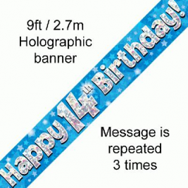 9ft Banner Happy 14th Birthday Blue Holographic