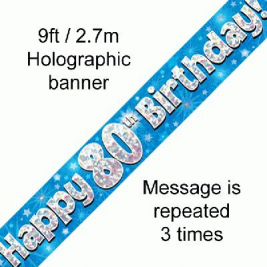9ft Banner Happy 80th Birthday Blue Holographic