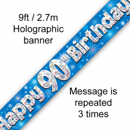 9ft Banner Happy 90th Birthday Blue Holographic
