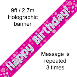 Happy Birthday Pink holographic  9ft Banner