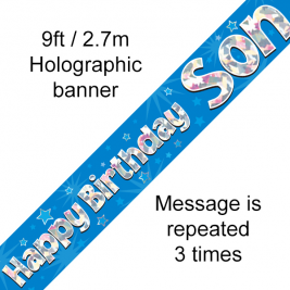 9ft Banner Happy Birthday Son Holographic