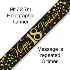 Happy 18th Birthday Black & Gold Sparkling Fizz Holographic 9ft Banner